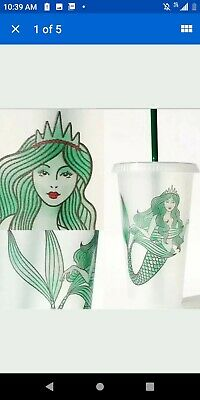 Starbucks Reusable Venti Cup Siren Mermaid Plastic Clear Frosted 24oz 1 Cup