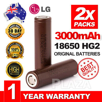 2x For LG HG2 18650 3000mAh High Drain 20A Rechargeable Lithium Battery Flat Top