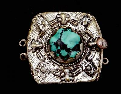 Antique Chinese Silver Plated Turquoise Ornate Bracelet Necklace Clasp 23913
