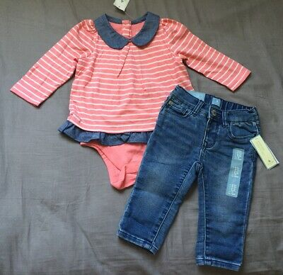 Baby Girl 6-12 Month Baby Gap Pink Striped Collared Bodysuit & Skinny Jeans