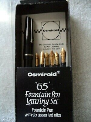 Vintage Osmiroid Lettering Set Fountain Pen #65 With 6 Nibs Italic Calligraphy