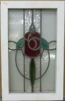 "OLD ENGLISH LEADED STAINED GLASS WINDOW Gorgeous Floral Design 13.25"" x 21"""
