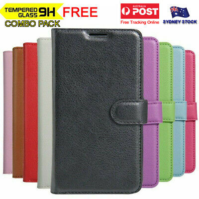 For Optus X Vista Premium PU Leather Wallet Flip Phone Case Cover Tempered Glass