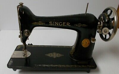 ANTIQUE SINGER 1918 Treadle Sewing Machine Head Red Eye Gold