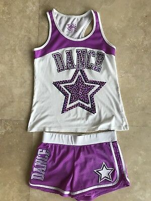 Justice Girls Dance SET Purple/White Star Stretch Shorts Tank Top Athletic 12/14