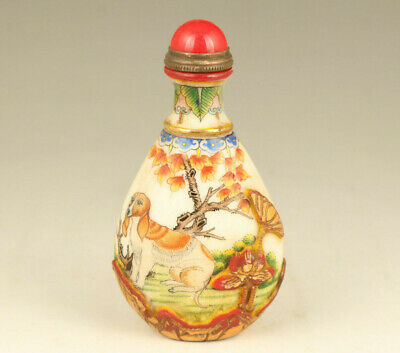 nice chinese Old Coloure Glaze Hand Painting dog lovely Statue Big Snuff Bottle