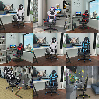 Executive Reclining Sports Racing Gaming Chair Office Desk Pu Leather Chairs New