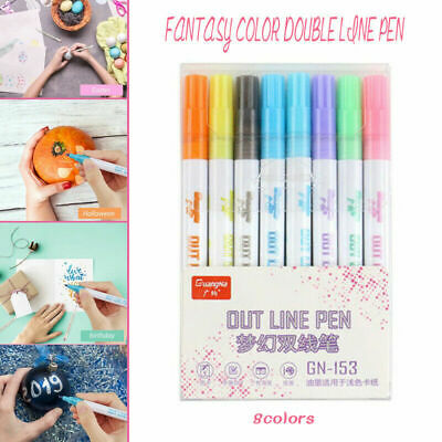 8 Color Gift Card Writing & Drawing Double Line Outline Pen Two-line Color PenAU