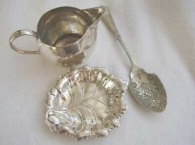 Antique Silver Plated Epns Creamer Milk Jug Preserve Spoon & Leaf Pin Dish Bowl
