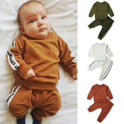 Newborn Kids Clothing Baby Boys Girls Winter Sport Tracksuit Tops Pants Outfits