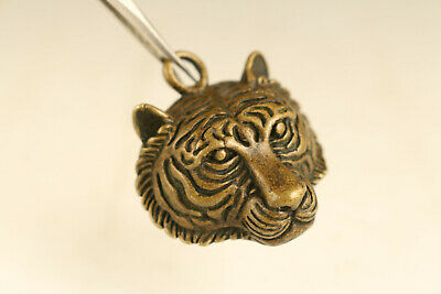 mini old copper tiger statue netsuke collectable ornament pendant