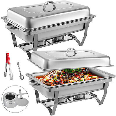 2 X Single Chafing Dish Sets Buffet Catering Party Stainless Steel Food Warmer