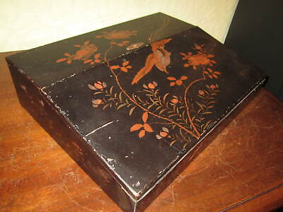 An old Victorian Chinese lacquer writing slope