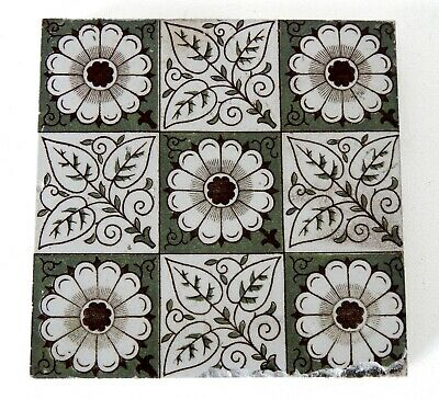 "Antique Victorian Minton Hollins  & Co 6"" x 6"" Tile Stoke on Trent #2"