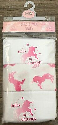 Girls 3 Pack Unicorn Vests Age 6-7 Years Old Unicorn Gift Present Back To School