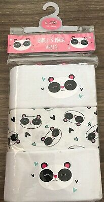 Girls 3 Pack Panda Vests Age 6-7 Years Old Panda Gift Present Back To School
