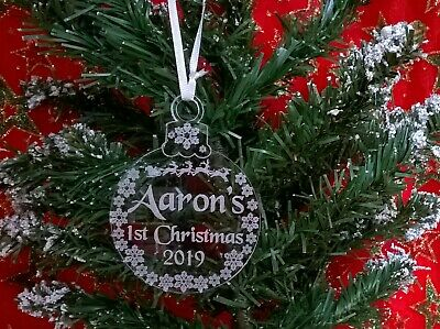 Personalised First 1st Christmas Xmas Bauble Tree Decoration Baby Keepsake Gift