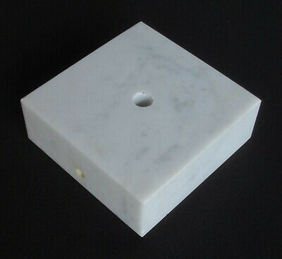 """Vintage 4 7/16"""" Square By 1 5/8"""" Thick White Marble Lamp Base With Wireway"""