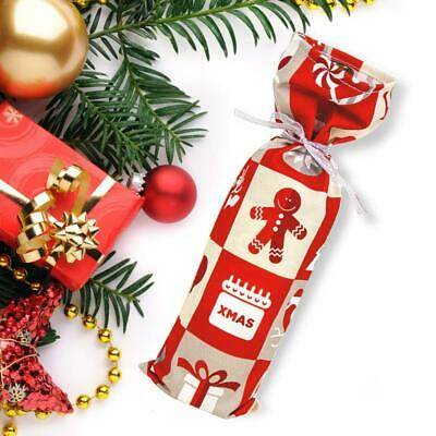 Wine Bottle Cover Polyester Cotton Bags Santa Red Grid Christmas Decor Gift Bag