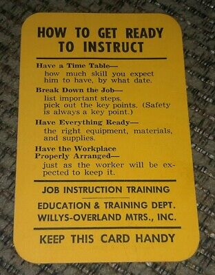 1950's Willys-Overland factory MANAGEMENT INSTRUCTION CARD Jeepster JOB TRAINING