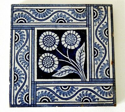 "Antique Victorian 6"" x 6"" Ceramic Glazed Tile Architectural Decorative #11"