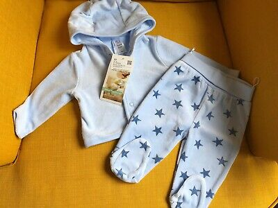 BNWT New Baby Boys Clothing - 0-3 Months Velour Star Trouser Suit