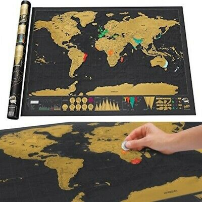 Personalized Deluxe Large Scratch Off World Map Poster Travel Gift Wanderlust