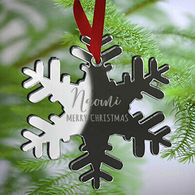 Personalised Baby's Snowflake Christmas Tree Decoration Xmas Bauble Ornament