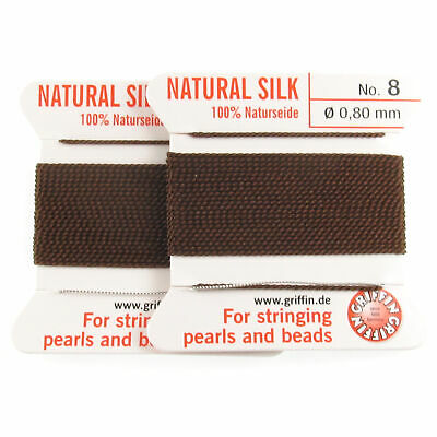 Griffin Silk Thread Two Pack   Brown Size 8   Beading Cord + Needles