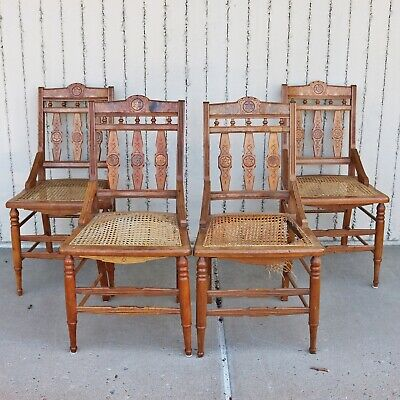 Set of 4 Victorian Eastlake 1880s Antique Carved Walnut Dining or Game Chairs