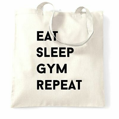 Novelty Tote Bag Eat, Sleep, Gym, Repeat Slogan Workout Exercise Strong