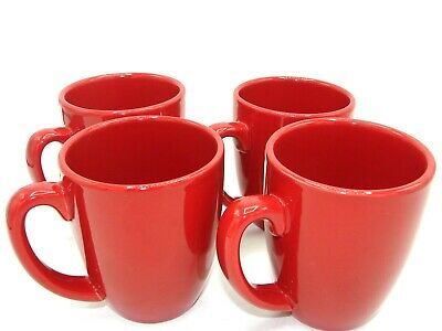 """Corelle Coordinates by CORNING Coffee Mug Cup Ruby Red 4"""" Inch Set of 4 Four EUC"""