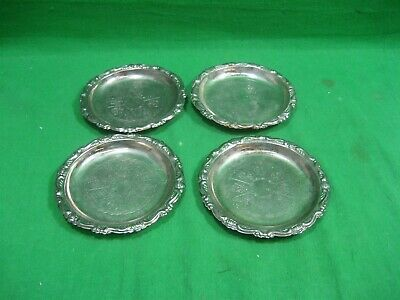 Vintage Silver Plated EP on Steel Set of Four (4) Etched Coasters Italy