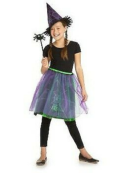 NWT Old Navy WITCH Halloween Costume ~ Medium M ~ 3 Pc: Skirt, Hat & Spider Wand