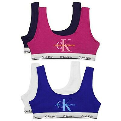 Calvin Klein Little & Big Girls 2-Pk. Logo-Print Bralettes (M6100)