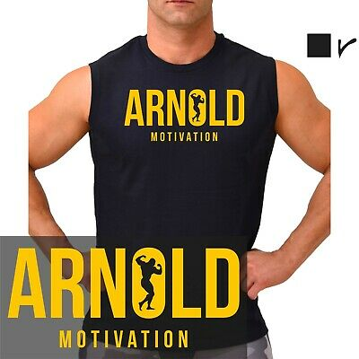 Arnold Motivation T-shirt, gym, training, weights, bodybuilding, muscle.