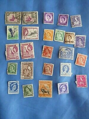 Job Lot British Commonwealth Stamps Queen Elizabeth King George VI