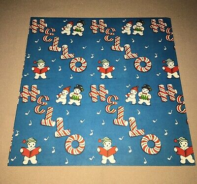 VTG CHRISTMAS WRAPPING PAPER GIFT WRAP 1940s CANDY CANE HELLO SNOWMAN