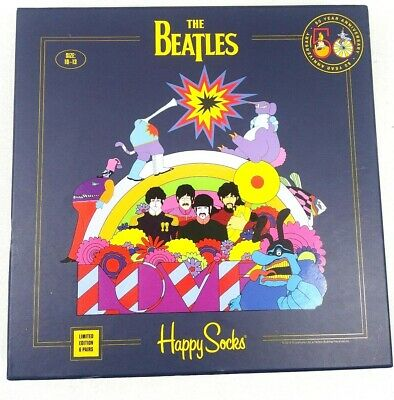 Happy Socks Limited Edition The Beatles 5 Socks in Gift Box Missing 1 Pair NEW