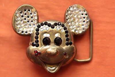 Vintage Baron Solid Brass Mickey Mouse Walt Disney Productions Belt Buckle