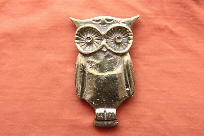 Vintage Large Hand Made Solid Brass Cast Owl Belt Buckle