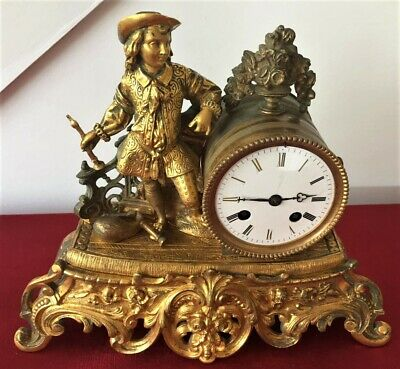 Nice French Ormolu 8 Day Mantle Clock With Figure