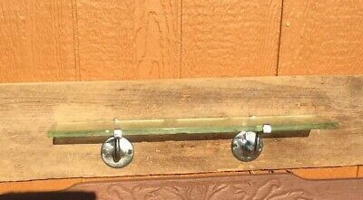 Antique Bathroom Kitchen Shelf Brackets Crome Glass victorian deco vtg