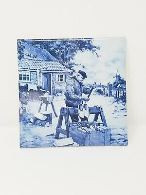 Vintage Delft Holland hand painted ceramic blue decorative tile wall hanging
