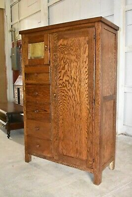 ANTIQUE HOOSIER STYLE Oak Kitchen Cabinet Cupboard Bedroom ...