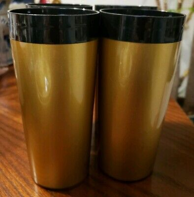 Vintage Set 4 West Bend Thermo Serv Insulated Beverage Tumblers Black Vegas Gold