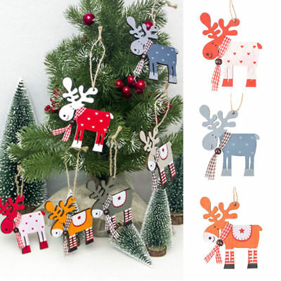 Christmas Ornaments Tree Decor Wood Painted Elk Deer Pendant Party New Xmas O1J0