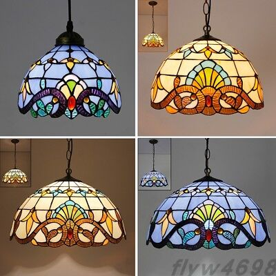 Tiffany Pendant Baroque Style Hanging Lamp Stained Glass Suspended Luminaire