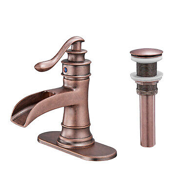 BWE Antique Copper Bathroom Sink Faucet Single Handle Vanity Lavatory Coungertop