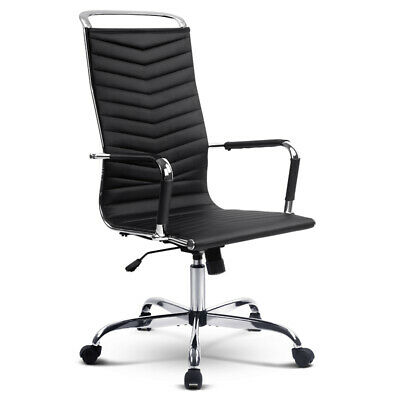 Artiss Eames Replica Office Chairs Computer Seating PU Leather Executive Black